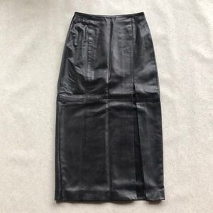 All Leather Black Long Pencil Skirt with Slit